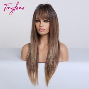 Image 2 - TINY LANA perruques synthétiques lisses longues avec frange, perruques ombrées noires brunes blondes et dorées résistantes à la chaleur pour femmes