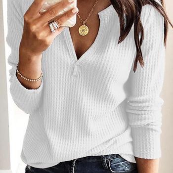 Kobiety odzież jesień wiosna kobiety podstawowe T Shirt nowe mody z długim rękawem V-Neck T Shirt Casual topy slim tanie i dobre opinie solid color tee shirt women T-shirt Female T shirt Stałe Wiosna jesień REGULAR Pełna CN (pochodzenie) NONE 929176 Wieku 16-28 lat
