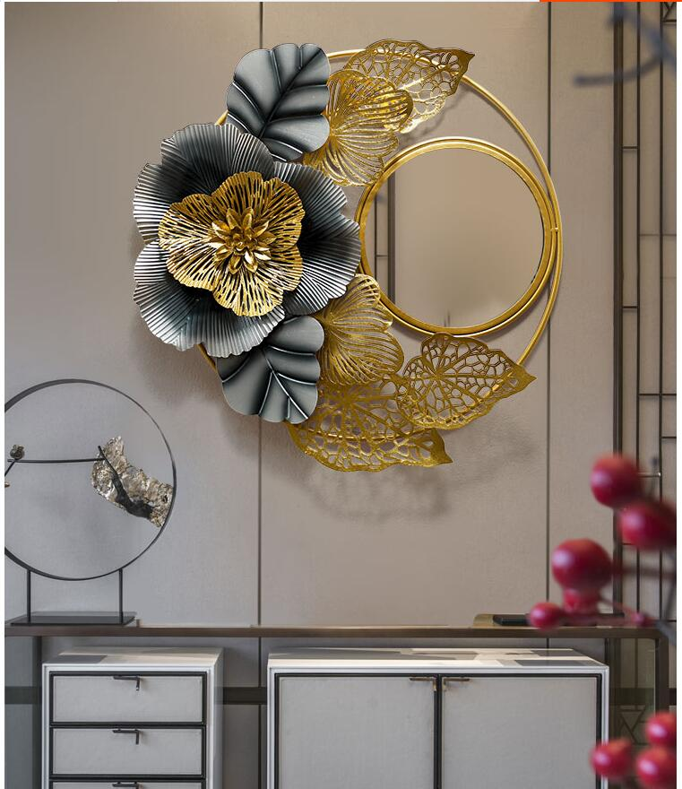 Chinese Wrought Iron 3d Wall Hanging Flower Decorative Mirror Home Livingroom Wall Mural Crafts Hotel Wall Sticker Decoration Best Sale 7ce3 Cicig