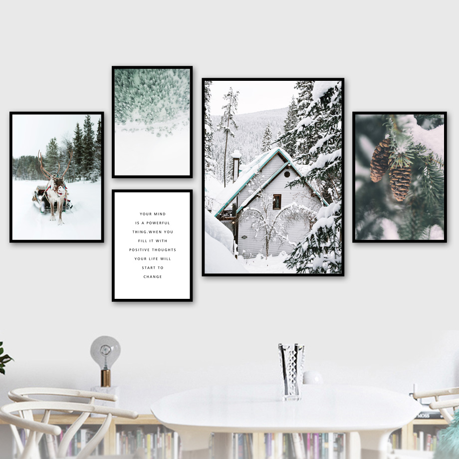 Geyik çam ormanı ağacı kar Sence kış duvar sanatı tuval yağlıboya İskandinav posterler ve baskılar duvar resimleri için oturma odası dekor