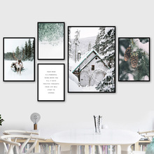 Deer Pine Forest Tree Snow Sence Winter Wall Art Canvas Painting Nordic Posters And Prints Wall Pictures For Living Room Decor