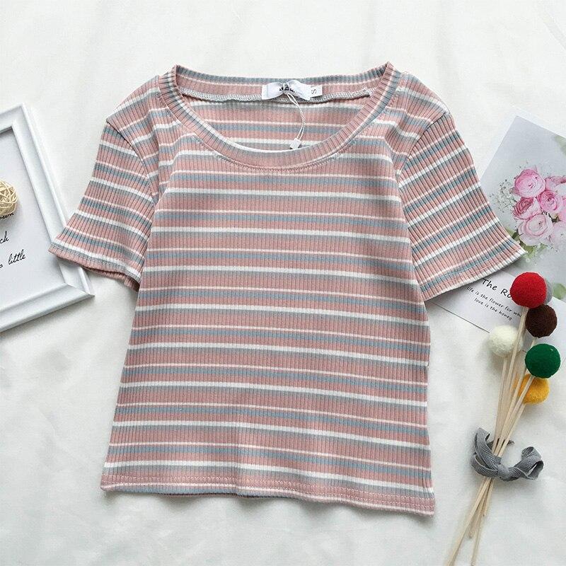 Тонкая винтажная полосатая футболка для женщин, новинка, Модный летний топ, футболки для женщин, короткая плотная футболка с принтом, Harajuku, у...