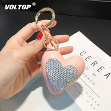 Fashion Peach Heart Car Key Chain Leather Keychain Bag Pendant   Key Ring Accessories Diamond Love Gives Gifts To Girls famous brand luxury genuine real leather lucky love heart keychain heart key chain women bag charm bag pendant accessories