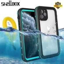 SHELLBOX מקרה עמיד למים עבור iPhone 12 11 פרו מקסימום X XR XS מקסימום עמיד הלם שחייה צלילה Coque כיסוי עבור טלפון מתחת למים מקרה