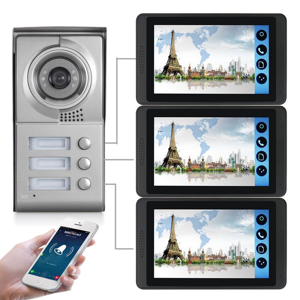 3 Unit Apartment Video Intercom 7 Inch Wireless WiFi Video Door Phone Doorbell Intercom System Android APP Control