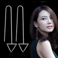 Simple Style Jewelry Drop Earrings For Women Tassel Earrings Women Jewelry Earrings Female Long Section Triangle square circle fashion jewelry simple style one metal chain ball long drop earrings for women jewelry fancy earrings