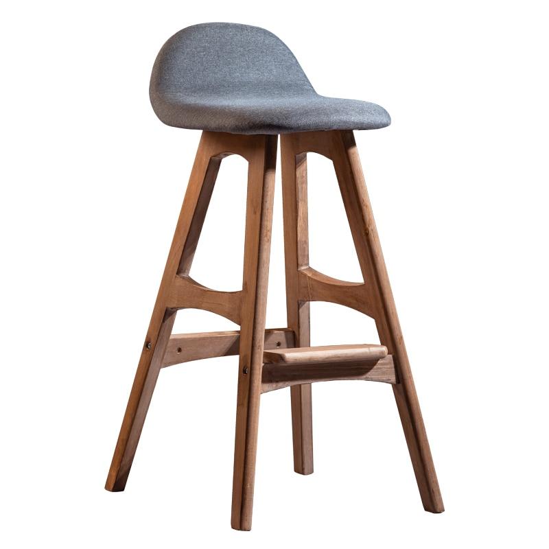 Nordic Solid Wood Bar Stool Retro Front Desk Bar Chair Tea Shop Stool Bar Stool Household High Stool