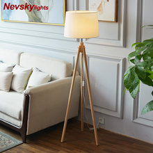 American Style floor Lamp Cloth lampshade modern Wooden bracket floor Lamps for living room bedside floor lights Nordic office(China)