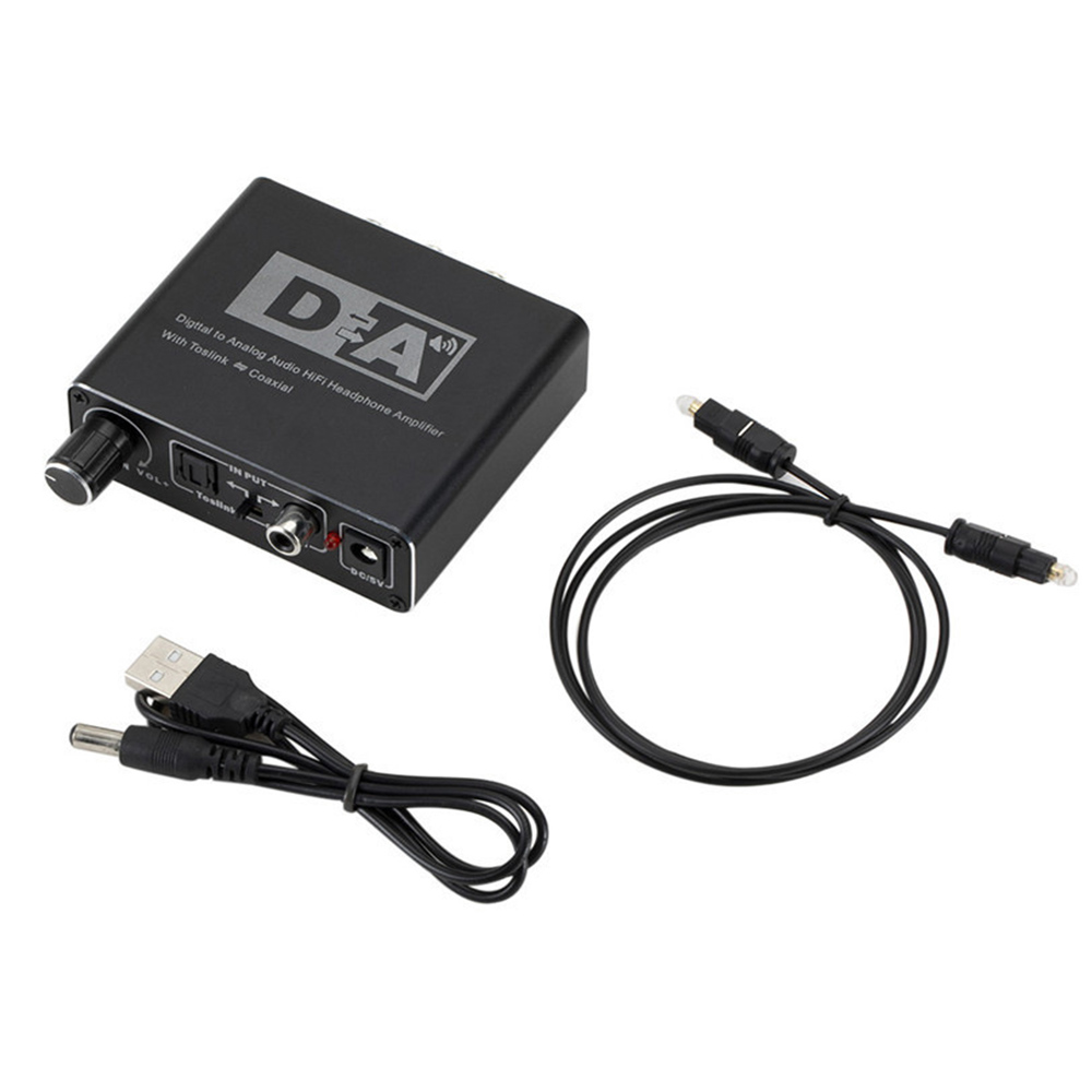 192KHz Digital to Analog Converter 3.5 Jack RCA <font><b>DAC</b></font> Spdif Amplifier Decoder Optical Fiber Coaxial For Headphone With Volume Knob image