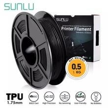 Sunlu 3d impressão filamento tpu flexível preto 1.75mm 0.5kg (1.1lb) precisão dimensional +/- 0.02mm costa 95a