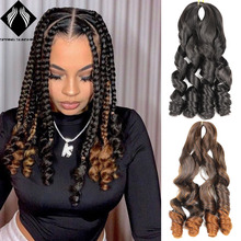 Hair-Extensions Synthetic Braiding-Hair Crochet-Hair Curls Wave Women for Black Pre-Stretched
