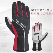 ROCKBROS Winter Cycling Gloves Full Finger Windproof Thermal Anti-slip Pad Warm Motorcycle MTB Bicycle Equipment