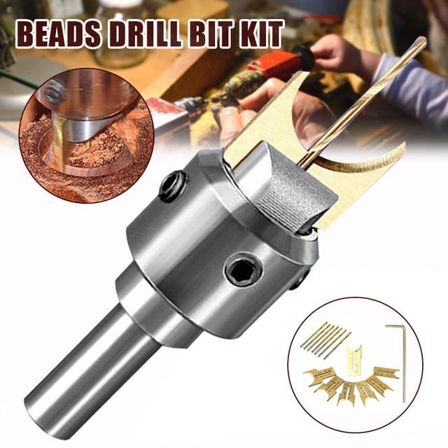 Perle en bois faire foret carbure lame à billes travail du bois fraise outil de moulage bouddha routeur peu forets ensemble
