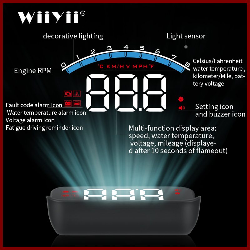 GEYIREN M6S OBD HUD Car Head Up Display With Lens Hood OBD2  Engine RPM Speed Meter Voltage Water Temperature Alarm