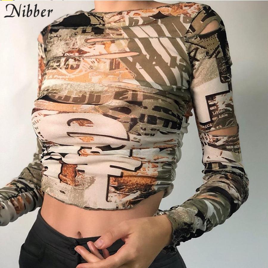 Nibber-Camiseta con aberturas para mujer, Top corto con estampado de calle gótica, Camisetas básicas informales para mujer