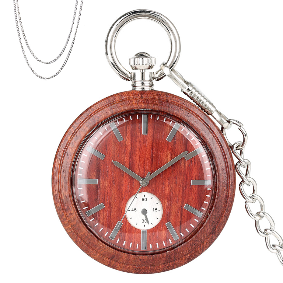 Full Wood Quartz Pocket Watch Analog Display Round Black/Red/Brown Wooden Clock Silver 80cm Sweater Chain+30cm Hanging Chain