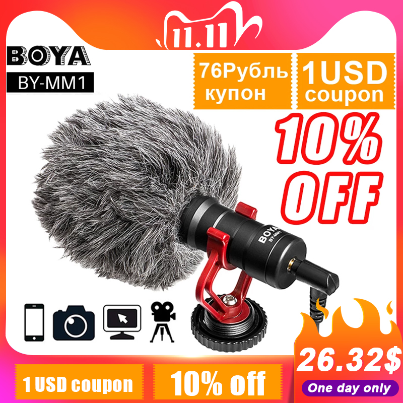 BOYA BY-MM1 Shotgun Video Microphone Universal Recording Microphone Mic for DSLR Camera iPhone Android Smartphones Mac Tablet