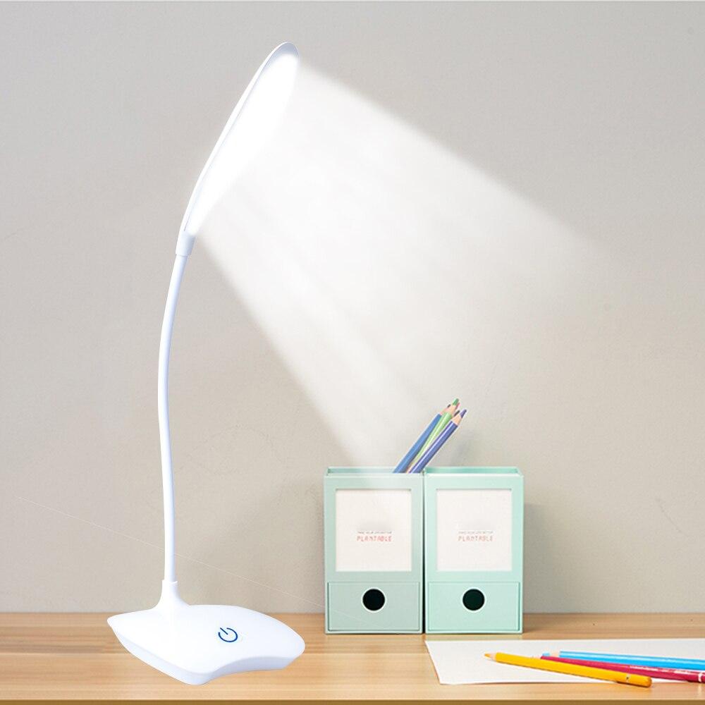 lampara escritorio usb Lámparas de mesa de estudio lámparas de escritorio LED recargables USB 18 LED Flexible Interruptor táctil de pie luz de lectura de estudio lámpara de mesa de escritorio de noche