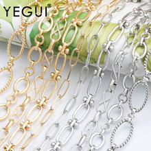 Yegui c169, corrente diy, 18k banhado a ouro, 0.3 mícrons, metal de cobre, ródio chapeado, encantos, fazer jóias, diy pulseira colar, 1 m/lote