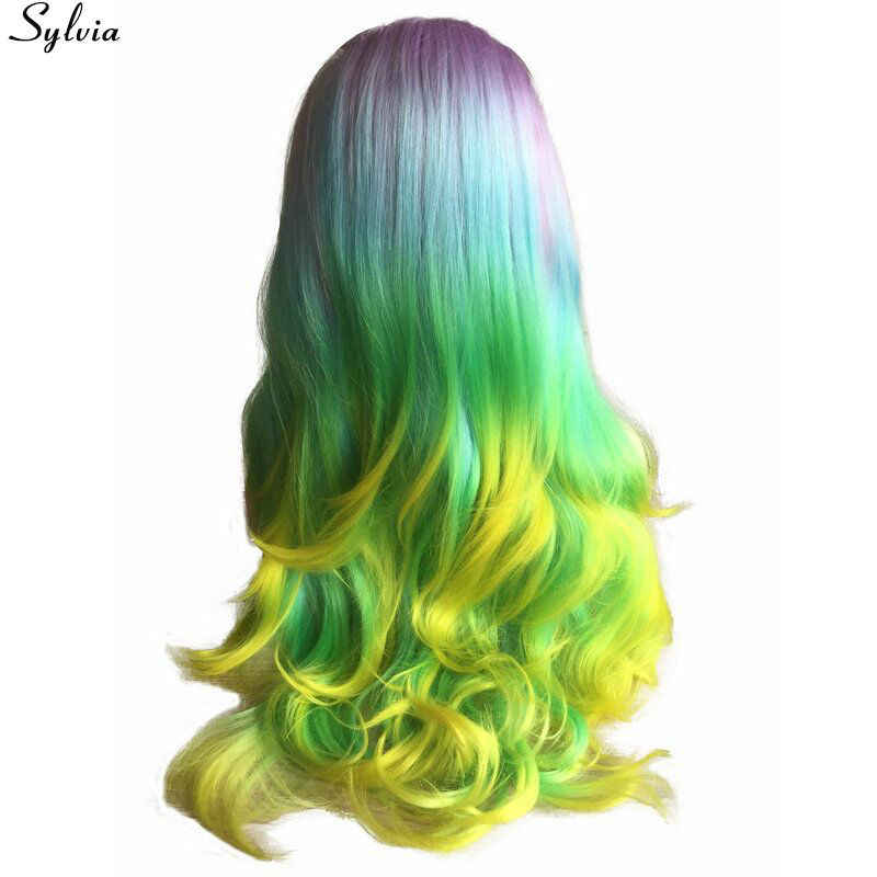 Sylvia Regenbogen Farbe Synthetische Spitze Front Perücken Licht Lila/Sky Blau/Pastell Grün/Gelb Ombre Langen Körper welle Wärme Beständig Perücke