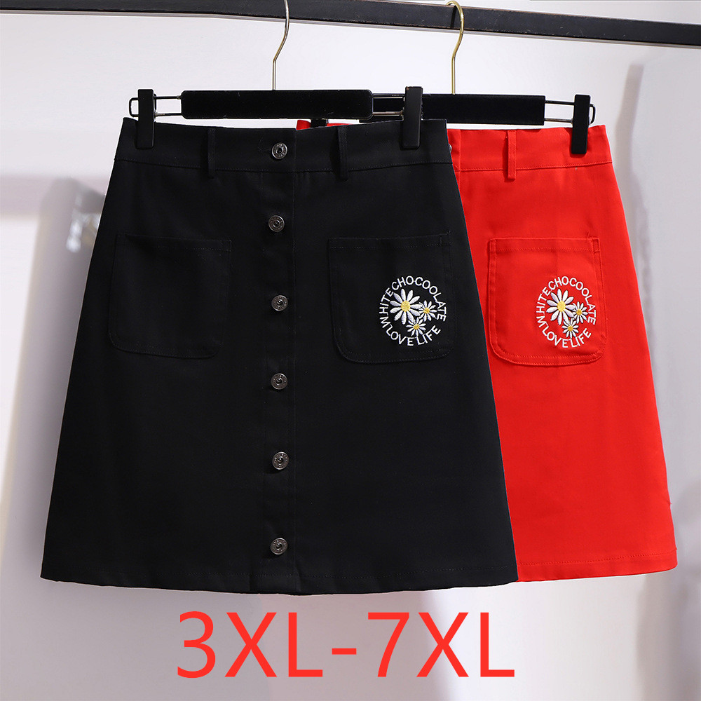 New 2020 Summer Plus Size Mini Skirt For Women Large Casual Loose Cotton Red Black Pocket Button Skirts 3XL 4XL 5XL 6XL 7XL