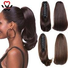 Прямые короткие синтетические волосы манвэй, светлые, черные, маленькие, хвосты пони, аксессуары для наращивания волос с когтями