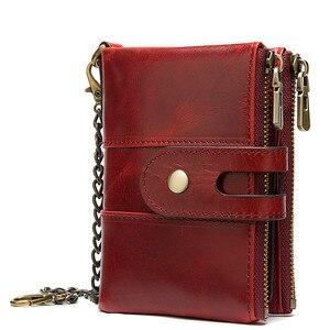 Мужской кошелек из натуральной кожи, роскошный клатч в стиле ретро, с цепочкой и противоугонной цепочкой, 2019