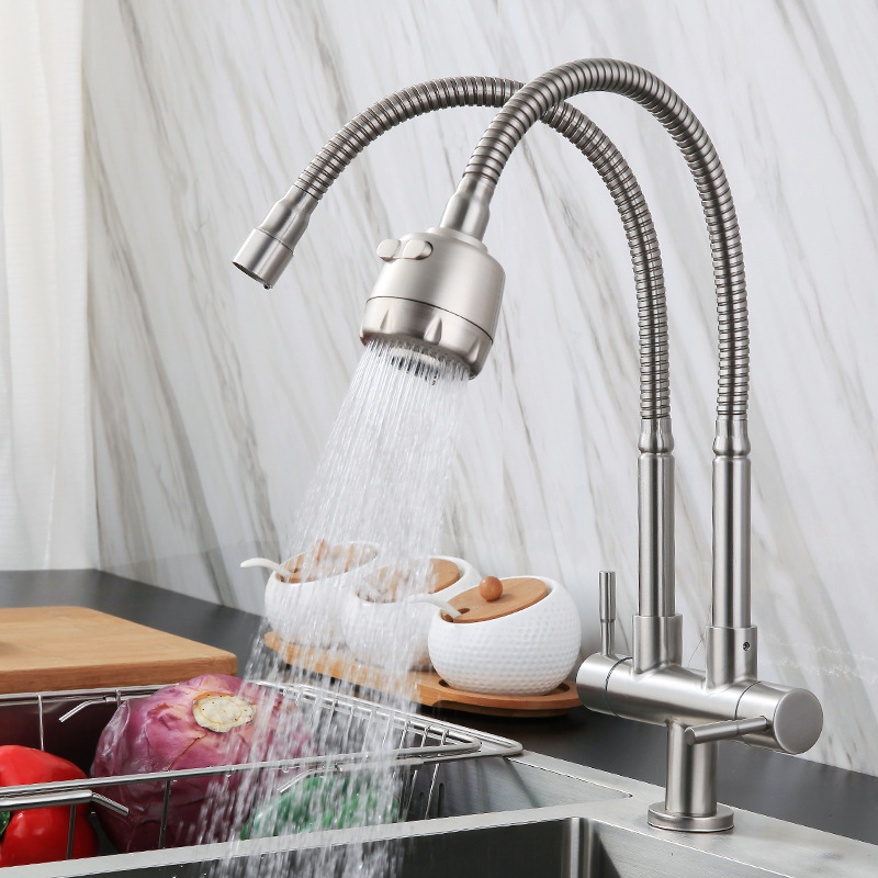 Special Offer 304 Stainless Steel Faucet Single Cold Double-Double Universal Rotating Kitchen Sink Double Outlet Tap