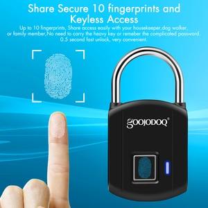 Image 5 - Goojodoq 스마트 지문 잠금 usb 충전 자물쇠 금속 보안 열쇠가없는 충전식 전기 도어 잠금 배낭 수하물