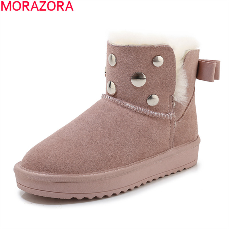 MORAZORA 2020 new hot sale snow boots comfortable flat heel round toe rivets winter shoes keep warm sweet pink ankle boots women 49