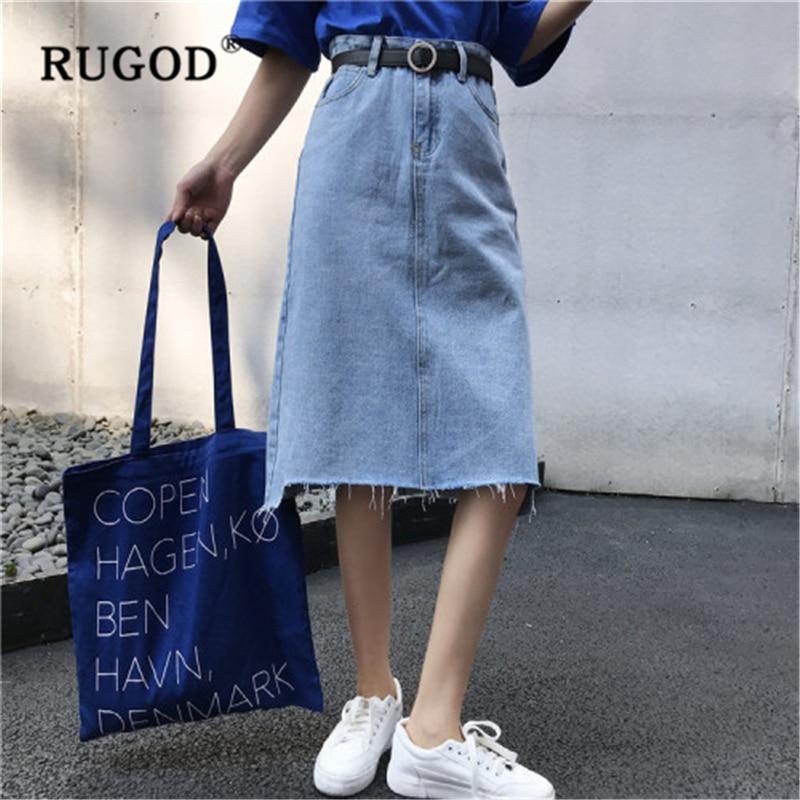 RUGOD Woman Fashion Skirts 2020 Solid Denim Skirt High Waist Tassel A-line Skirt New Summer Slim Casual Jeans Skirt Female Cloth