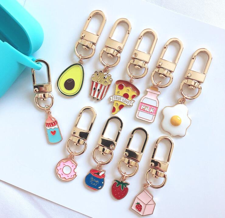 New LOT 5PCS Cartoon Fruit Milk Pizza Eggs Donuts Cute Keychain Jewelry Accessories Key Chains Pendant Gifts Favors