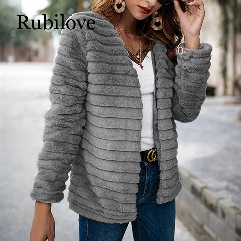 Rubilove Cardigan Fur Coat Women Long Sleeve Shaggy Autumn Winter Faux Fur Jacket 2019 Gray Rabbit Hair Outerwear Coat Female in Faux Fur from Women 39 s Clothing