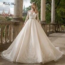 Adoly メイゴージャスなアップリケ長袖 A ラインのウェディングドレス 2020 の高級クリスタルサッシビーズ王女の花嫁のガウンプラスサイズ