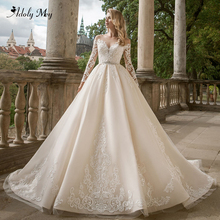 Adoly Mey Gorgeous Appliques Long Sleeve A Line Wedding Dresses 2020 Luxury Crystal Sashes Beaded Princess Bride Gown Plus Size