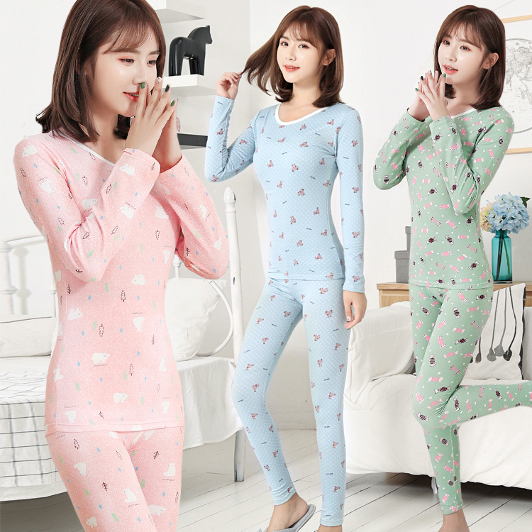 Warm Underwear, Long-sleeved Velvet, Autumn Trousers, Round Collar And Body-building Pajamas