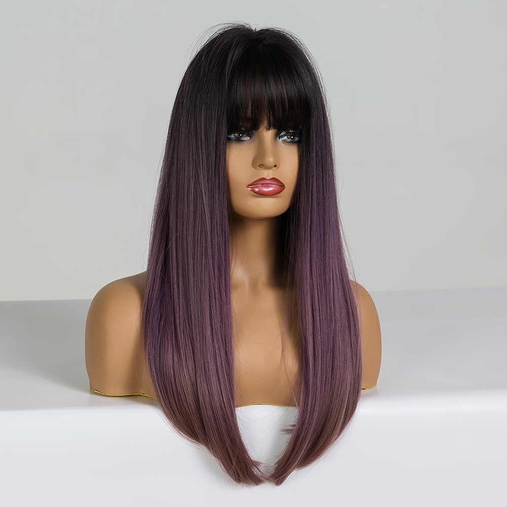Peluca larga recta con flequillo negro Lila púrpura marrón Ombre pelucas sintéticas para mujer resistente al calor Cosplay pelucas