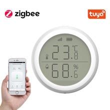 Tuya ZigBee-Sensor inteligente de temperatura del hogar y humedad, dispositivo con pantalla LED que funciona con asistente de Google y Tuya Zigbee Hub