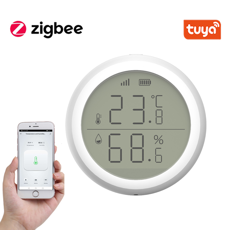 Hot DealsTuya ZigBee Smart Home Temperature And Humidity Sensor With LED Screen Works With Amazon