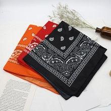 Foulard Bandana noir unisexe, style Hip Hop, bandeau pour le cou, couvre-chef de sport, enveloppements de poignet, foulards carrés pour la tête, mouchoir imprimé