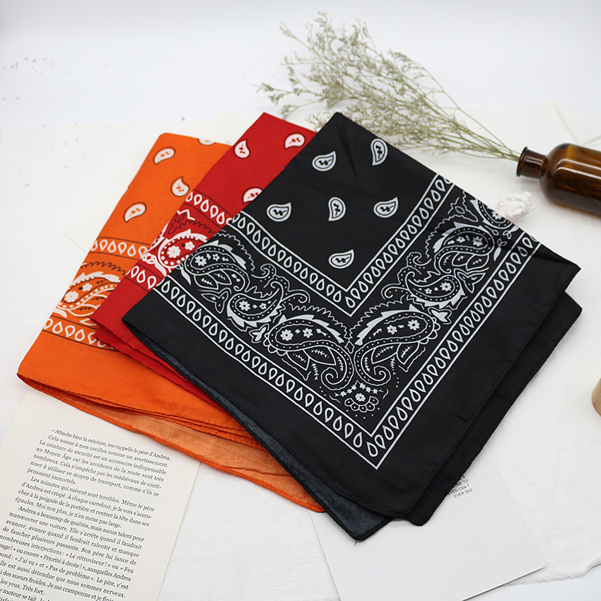 Lenço de bandana preto unissex, lenço esportivo de hip hop para cabelo, estampa de lenço