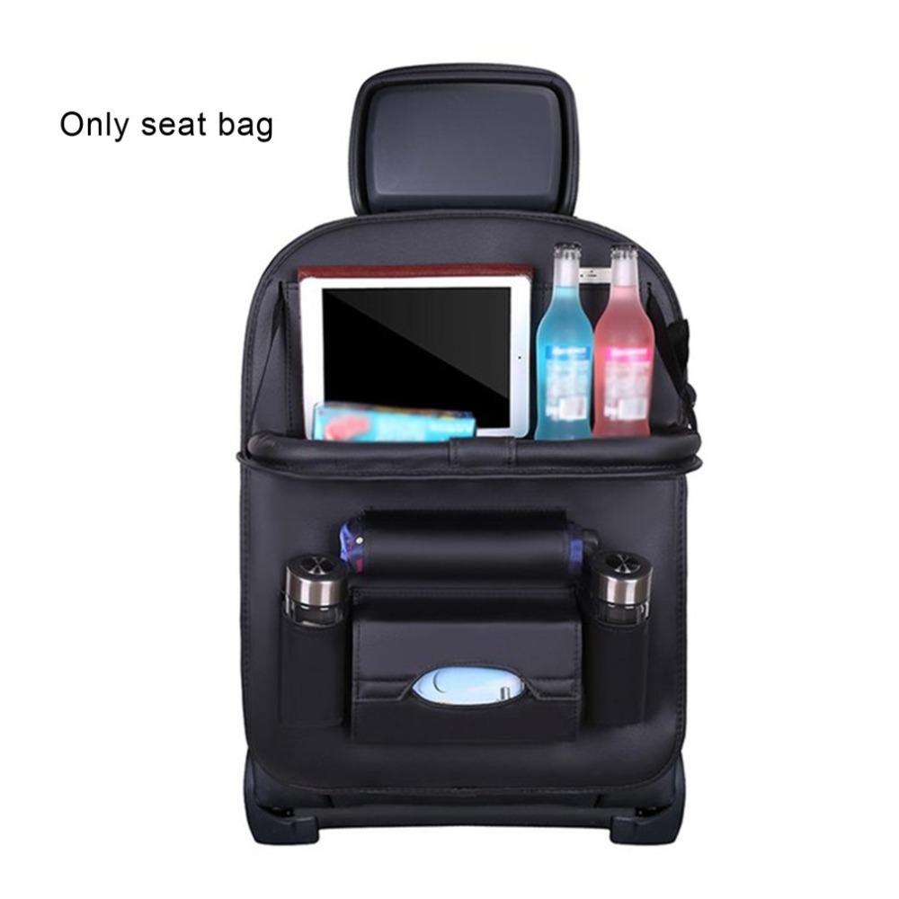 PU Leather Car Seat Back Organiser with Foldable Tray 7