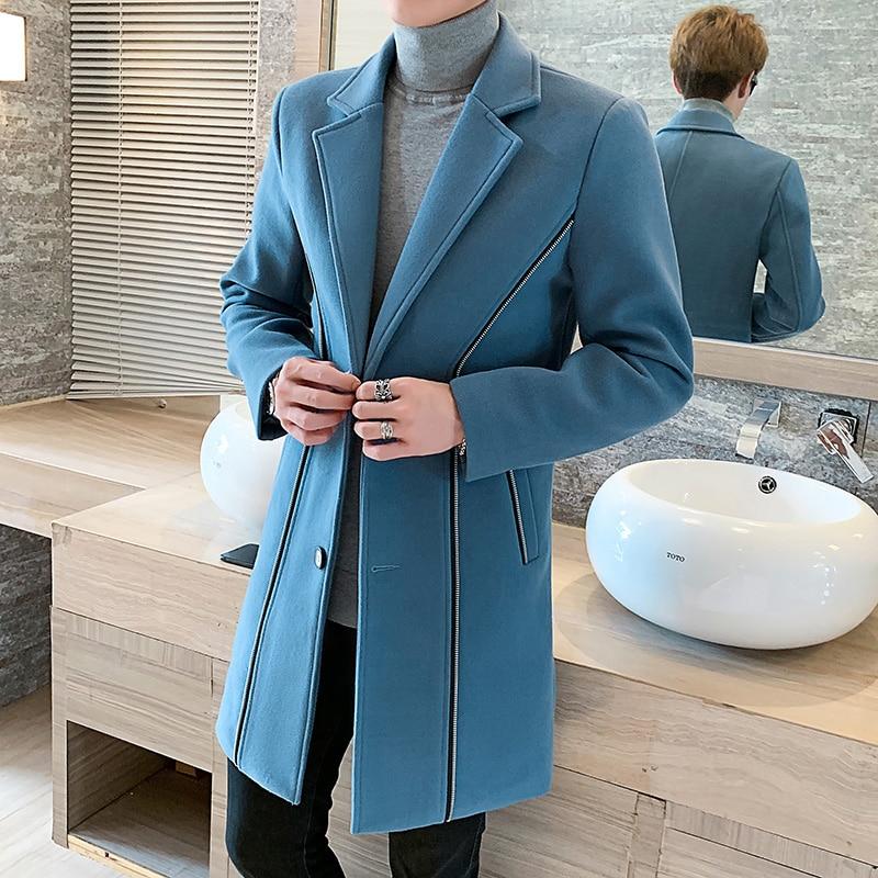 5XL Sky Blue Long Trench Coats Mens Woolen Coats Winter Windbreaker Long Slim Fit Polyester Mens Long Coats Grey Jackets Vintage