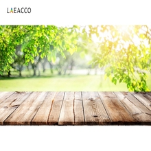 Laeacco Wooden Floor Spring Trees Green Leaves Sunlight Photography Background Customized Photographic Backdrop For Photo Studio