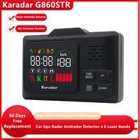 Karadar Neue technologie dünne radar GPS Auto anti radar laser detektor G-860 mit 2,4 zoll display X K L CT installieren GPS daten