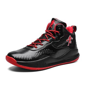 Nowe buty koszykarskie dla mężczyzn buty sportowe na świeżym powietrzu męskie buty do koszykówki męskie oddychające antypoślizgowe buty treningowe męskie tenisówki tanie i dobre opinie HOMASS CN (pochodzenie) Średnie (b m) Wysokiej RUBBER Cotton Fabric professional basketball shoes for men high top basketball shoes