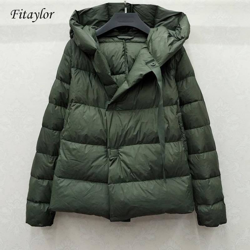 Fitaylor New Winter 90% Ultra Light White Duck Down Jacket Women Short Down Coat Parkas Hooded Parkas Warm Female Snow Outwear