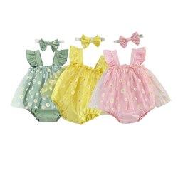 3 Цвета одежда для малышей Детский комбинезон для девочек; Платье с цветочным принтом, без рукавов, с квадратным вырезом кружева пачка Комби...