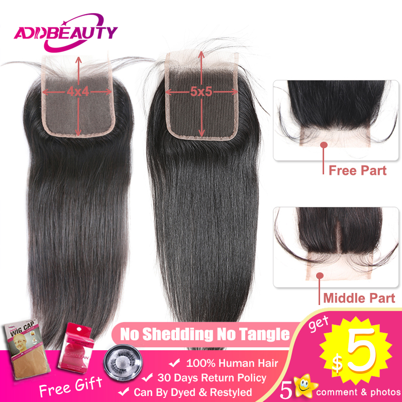 HD Transparent 4x4/5x5 Lace Closure Straight Unprocessed Virgin One-Donor Brazilian Human Hair Free Middle Part Natural Color