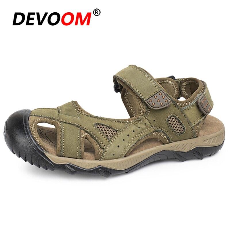 Sandales hommes été doux randonnée sandales confortable en plein air chaussures de sport hommes en cuir véritable Roman sandales baskets grande taille 48